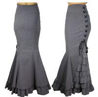 High Waist Long Grey Mermaid Gothic Ruffled Skirt By Chic Star UK Sizes 8 to 30