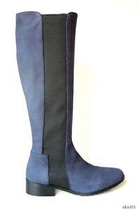 L.K. Bennett 38 US 7 navy blue leather stetch TALL BOOTS Toni HalfnHalf new $545