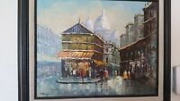 T.CARSON IMPRESSIONIST SIGNED OIL CANVAS PAINTING STREET SCENE PARIS MID-CENTURY