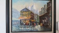 T. CARSON SIGNED OIL ON CANVAS PAINTING STREET SCENE
