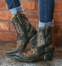 Old Gringo Little G Black Boots Embroidered Hearts and Wings Studs 8.5