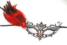 Red Black Dot Side Feather Masquerade Mardi Gras Metal Crystal Tiara Mask
