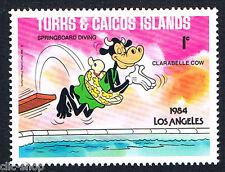WALT DISNEY 1 FRANCOBOLLO TURKS & CAICOS ISLANDS LOS ANGELES 1c 1984 nuovo