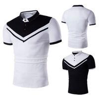 Men Pique Leisure Collar Shirts Short Sleeve Casual Golf T-shirt Tee Tops Jersey