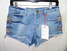 Nineteen 91 The Frayed Mid Rise Blue Jean Light Wash Shorts Lace Up Size 4 NWT