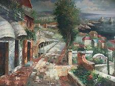 Dipinto Olio su Tela - 90x120 cm - Paesaggio Mediterraneo - Quadro Vicoli