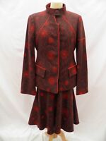 ASHLEY ISHAM Ladies Suit Jacket Blazer Skirt Brown Pattern Size UK 10 £1080 New.
