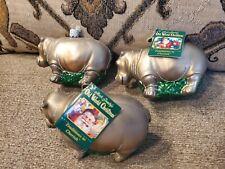 Old World Christmas Hippo Hippopotamus Ornament Lot Of 3