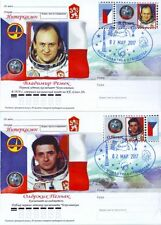 Russian 2017 Space Post Card Stamp Czech Cosmonauts V. Remek & Backup O. Pelcak