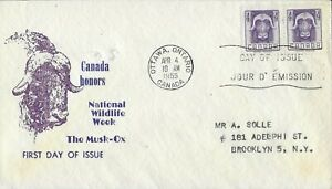 1955 Canada FDC, #352, 4c Musk-Ox