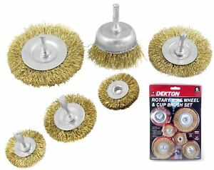Dekton 6pc Brass Wire Wheel / Cup Brush Set Use With Rotary Drill And Drills