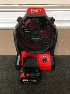 Milwaukee M18 18V Portable Jobsite Fan 0886-20 & XC 3.0 48-11-1828 Battery
