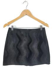 PILPEL 1990s Vintage Skirt - Black Pencil Straight Faux Fur Textured Mini - 6/8