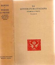 GIUSEPPE PARINI - POESIE E PROSE ed.Ricciardi  1951