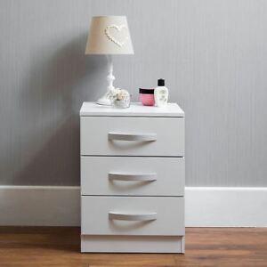 Hulio 3 Drawer Chest High Gloss Wood Bedroom Storage Furniture White