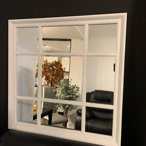 WHITE ENCHANTED WINDOW STYLE WALL MIRROR MANTEL HALLWAY SQUARE WINDOW MIRROR