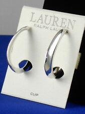 Ralph Lauren Polished Silvertone Twisted Sculptural Hoop Clip Earrings L6855EC41
