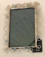 "Silvertone Metal & Blue Rhinestones 5 X 7"" Frame Holds 4 X 6"" Photo"