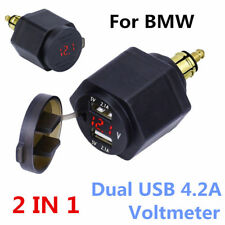 Waterproof Dual USB 4.2A Motorbike ATV Charger Adapter Red LED Voltmeter For BMW