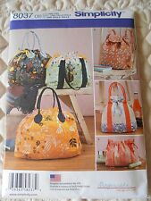 Simplicity Sewing Pattern 8037 Backpack, Totes and Cosmetic Bag New and Uncut