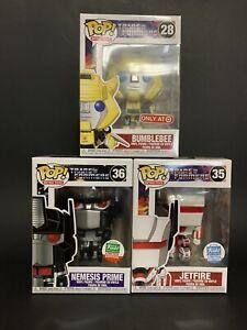 Funko Pop Transformers Jet Fire Nemesis Prime Bumblebee Lot (NIB)