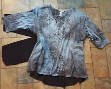 Women's plus size clothing lot outfit sz 24w 3x capri blouse, necklace, EUC 3pc