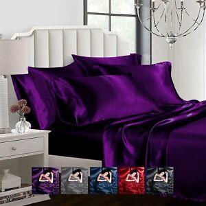 Satin 6pcs Silky Bedding Set Queen/King Duvet Cover Fitted Sheet & 4 Pillowcases