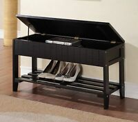 Legacy Decor Solid Wood Shoe Bench with One Rack and Storage, Black Color