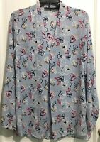 Attention Womens Sz Small Blue Floral Long Sleeve V-Neck Top Shirt Tunic Blouse