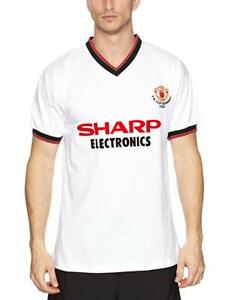 Score Draw Retro Manchester United 1983 FA Cup Winners Football Shirt Away S M
