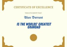 Unique Quirky Personalised Best Fathers Day Gift Dad Grandad Pops Certificate