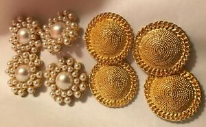 """Set of 8 Shiny gold Tone Domed Metal & Faux Pearl Cabochons  13/4"""" Buttons"""