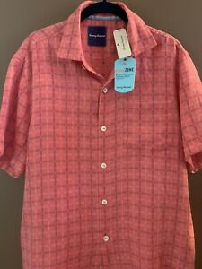 TOMMY BAHAMA Mens Island Zone Silk Blend Button-Down Shirt in Red (SMALL)
