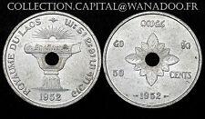 50 Cents ROYAUME DU LAOS 1952 Colonies Française. Aluminium. SPL. Cote SPL: 30€