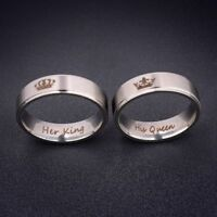 His Queen and Her King Silver Stainless Steel Couple Engagement Rings (2 pcs)