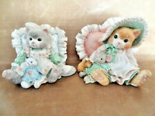 Calico Kittens, Set of Two Kittens with Ruffled Pillows, Numbered 1992/1993