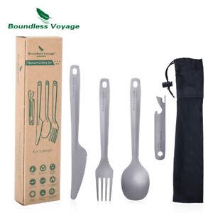 Titanium Cutlery Set Ultralight Flatware Utensil 4 Pcs Set Spoon Fork Knife