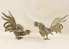 Vintage Silver Plate Fighting Roosters Cock Fight Figures