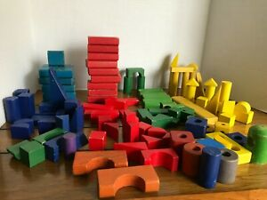 Mixed Lot 129 Colored Wood Building Blocks Beads for Crafts Art STEM toys OT