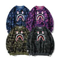 Bape A Bathing Ape Camo Shark Head Men's Pullover Hoodie Sweatshirt Crew Neck