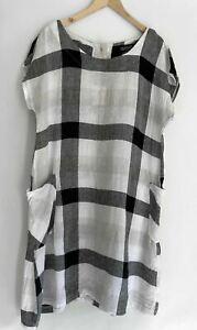 PHILOSOPHY Gorgeous Pure Linen Check Dion Dress 14-16  $179