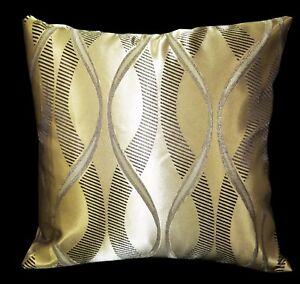 HC365a Light Bronze Gold Deep Brown Curve Jacquard Cushion Cover/Pillow Case