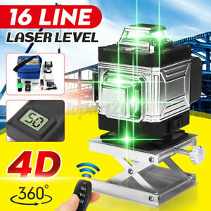 4D 360° 16 Lines Green Laser Level Auto Self Leveling Rotary Cross Measure Set