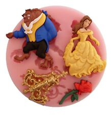 BEAUTY AND THE BEAST SILICONE MOULD FOR CAKE TOPPERS, CHOCOLATE, CLAY ETC