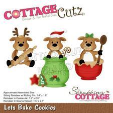 CottageCutz Christmas Let's Bake Cookies Die Set Cute Reindeer Rolling Pin, Jar