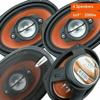 "4x Audiobank 6x9"" 1000 Watt 4-Way Red Car Audio Stereo Coaxial Speakers - AB790"