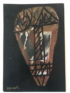 illegibly signed mixed media Skull artwork Basquiat-esque 10 x 7 ins