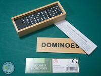 TRADITIONAL WOODEN GAMES DOMINOES WITH WOOD BOX & INSTRUCTIONS