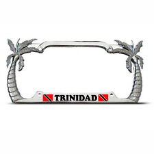 TRINIDAD FLAG Heavy Duty Metal Chrome PALM TREE License Plate Frame