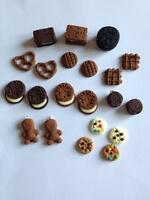10 Cookie Fimo Charms Jewellery Making Beads Bundle Oreo Biscuit Pretzel Waffle